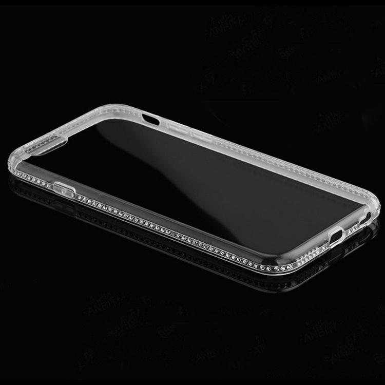 Silikonový obla s kamínky na iPhone 5  5S  SE průhledný 04fe66614bc