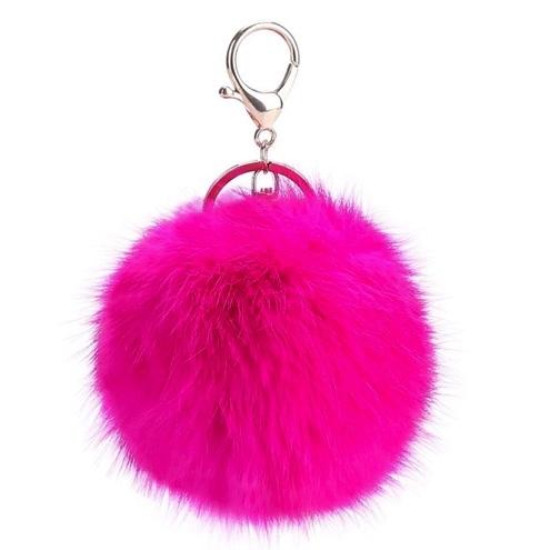 Růžový chlupatý přívěsek na klíče Pom Pom  78c6b01f85b